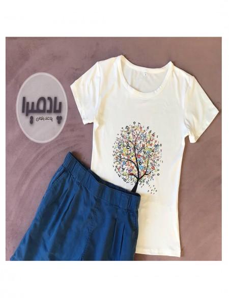تی شرت نخ پنبه مدل درخت