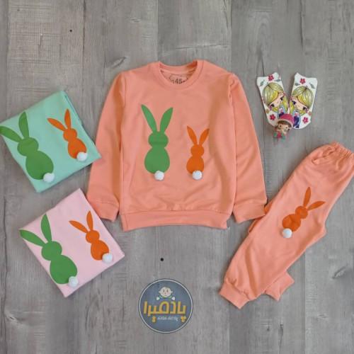 بلوز شلوار طرح دو خرگوش دخترانه