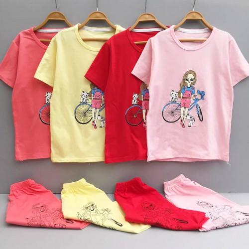 تیشرت شلوارک دختر و دوچرخه (دخترانه)